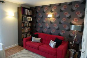 Interior Decorators Norwich. Living room sofa and bookcase